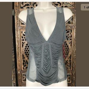 Donna Karen Sheer Sleeveless Top Women Size S Gray